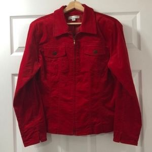 Coldwater Creek Red Velvet Fitted Jacket- Lg